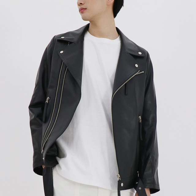 [MEN] OVER-SIZED LAMBSKIN LEATHER JACKET